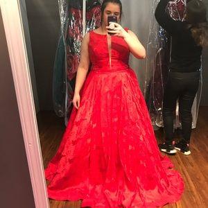 Bright red sherri hill prom dress